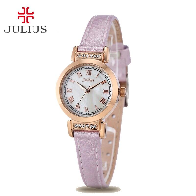 Julius Women's Watch Japan Quartz Hours Fine Fashion Clock Dress Bracelet Leather Rhinestone Shell Girl Birthday Gift Box 763 цена и фото