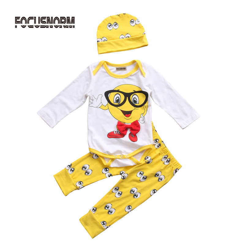 New Fashion Newborn Baby Boys Girls Outfit Clothes Print Big Eyes Romper Jumpsuit Long Pants Hat