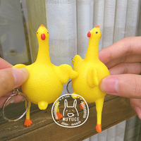 New Arrive Vent Chicken Keychain Extruded Hens Decompression ToysTricky Funny Toy Gags Practical Jokes Gift For