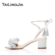 White Chunky Block Heel Women Sandals Woman Summer Shoes Plus Size Fashion 6.5CM Low Comfy Free Shipping Fringe