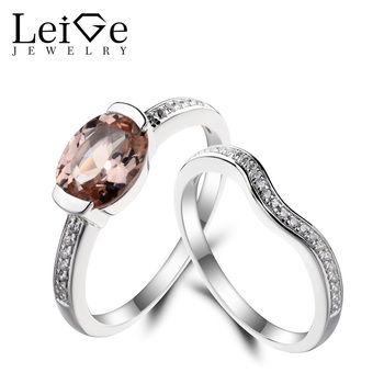 Leige Jewelry Morganite Engagement Ring Natural Pink Morganite Ring Oval Cut Pink Gemstone 925 Sterling Silver Bridal Sets Rings