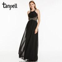 Tanpell 고삐 이브닝 드레스 섹시한 블랙 바닥 길이 민소매 라인 드레스