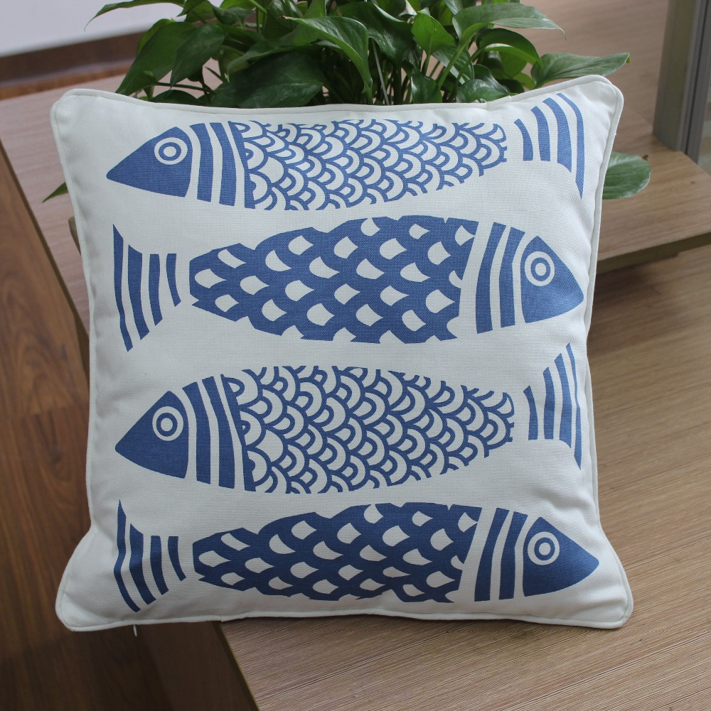 VEZO HOME printed fish cotton canvas sofa cushions cover home ...