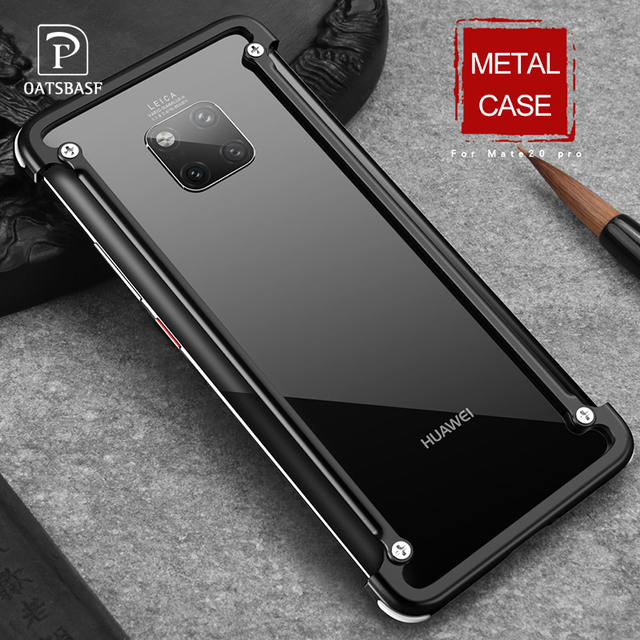 OATSBASF with Airbag Metal Frame shape phone Case For Huawei Mate 20 Pro 20 RS 20X 20 luxury phone bumper with back film gift