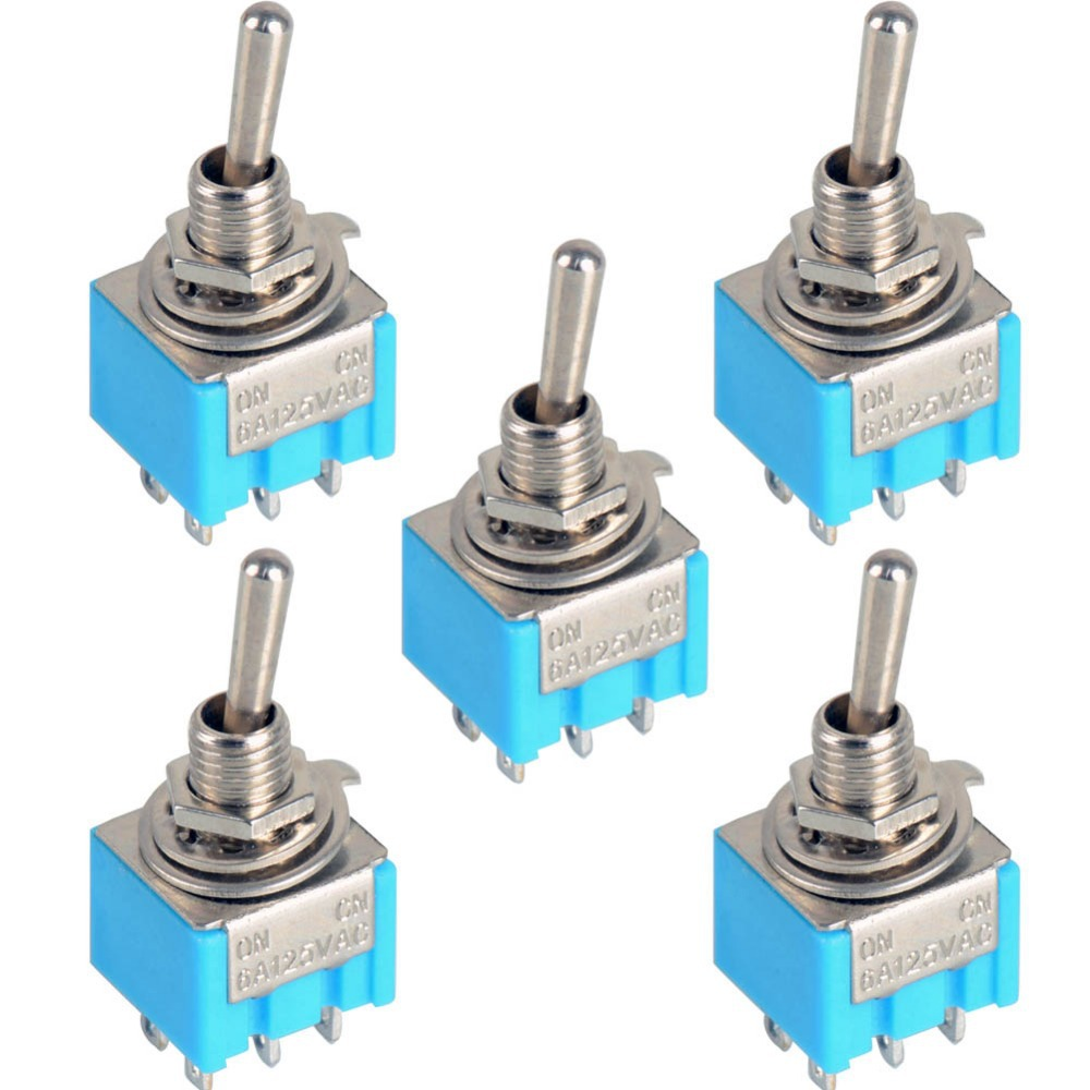 5pcs/LOT  Blue 6-Pin DPDT ON-ON Mini MTS-203  6A125VAC Miniature Toggle Switches VE068 P5
