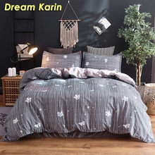 Plant Pattern Bedding Set Pastoral Style Polyester Duvet Comforter Cover Sets With Pillowcase Single Double Queen King Bed LInen(China)