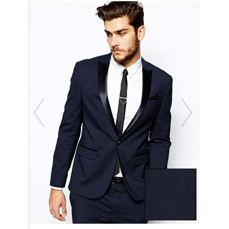 2017 New costume homme navy blue Custom Made Wedding Suits for men Black Lapel Tuxedos mens Suits man Party Suit (Jacket+Pants)