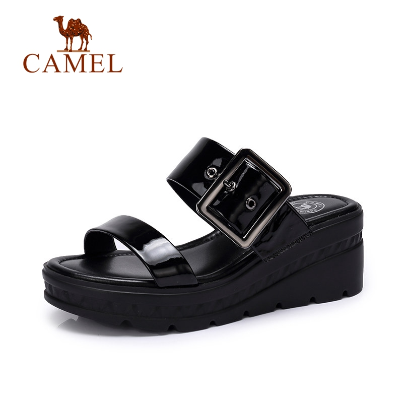 CAMEL Casual Sandals 2018 Summer New Womens Shose Simple Exposed Toe Soft Ulzzang Fashion Style Buckle Patent Leather Sandals