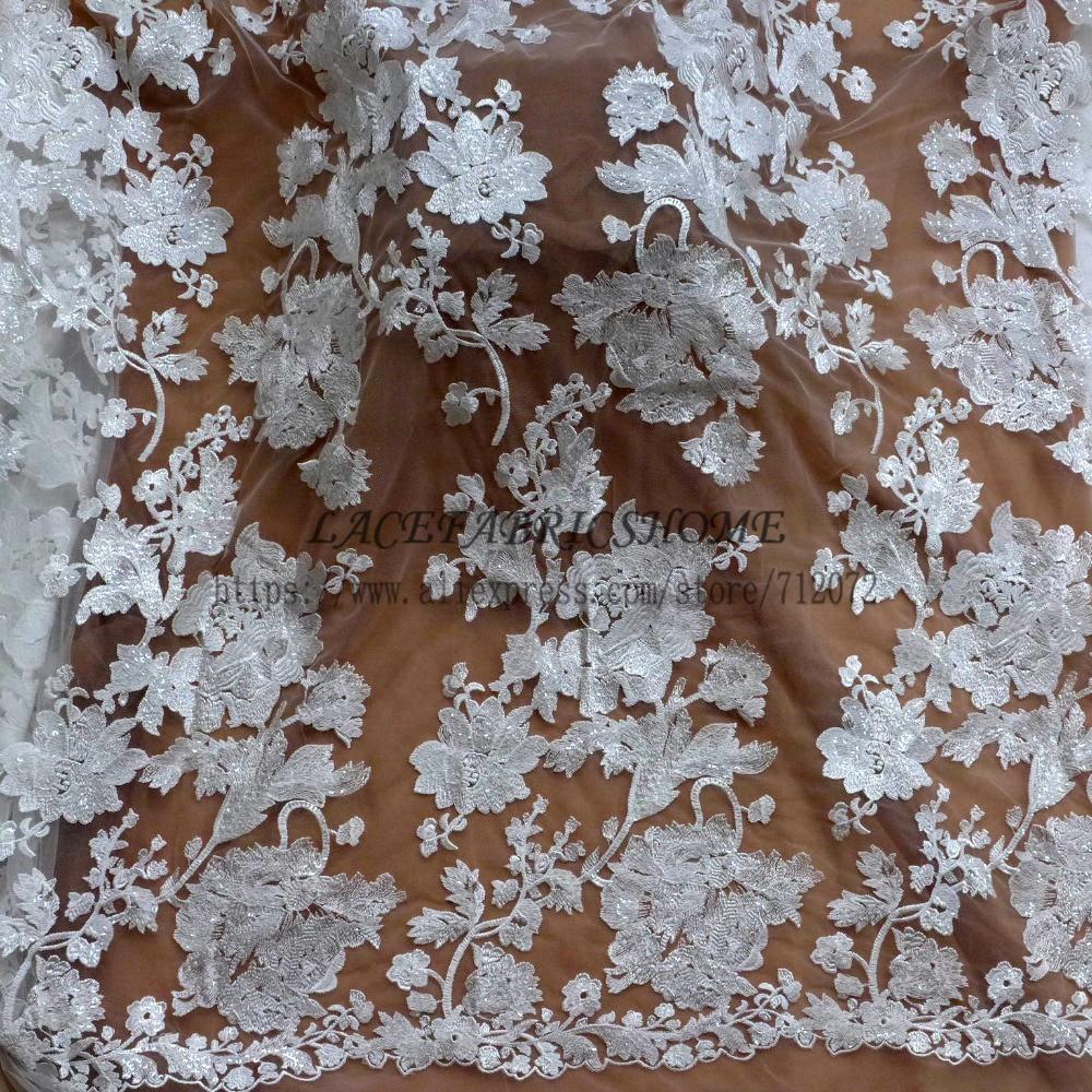 Blanc cassé belle bige fleurs paillettes polyester broderie robe de mariée dentelle tissu marque de mode dentelle 51 ''largeur - 6