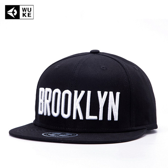WUKE  Brand Brooklyn Letter Cap Black Adjustable Snapback Hat For Man  Women Flat Brim Hip Hop Outdoor Casual Baseball Hat afc463e6f8e