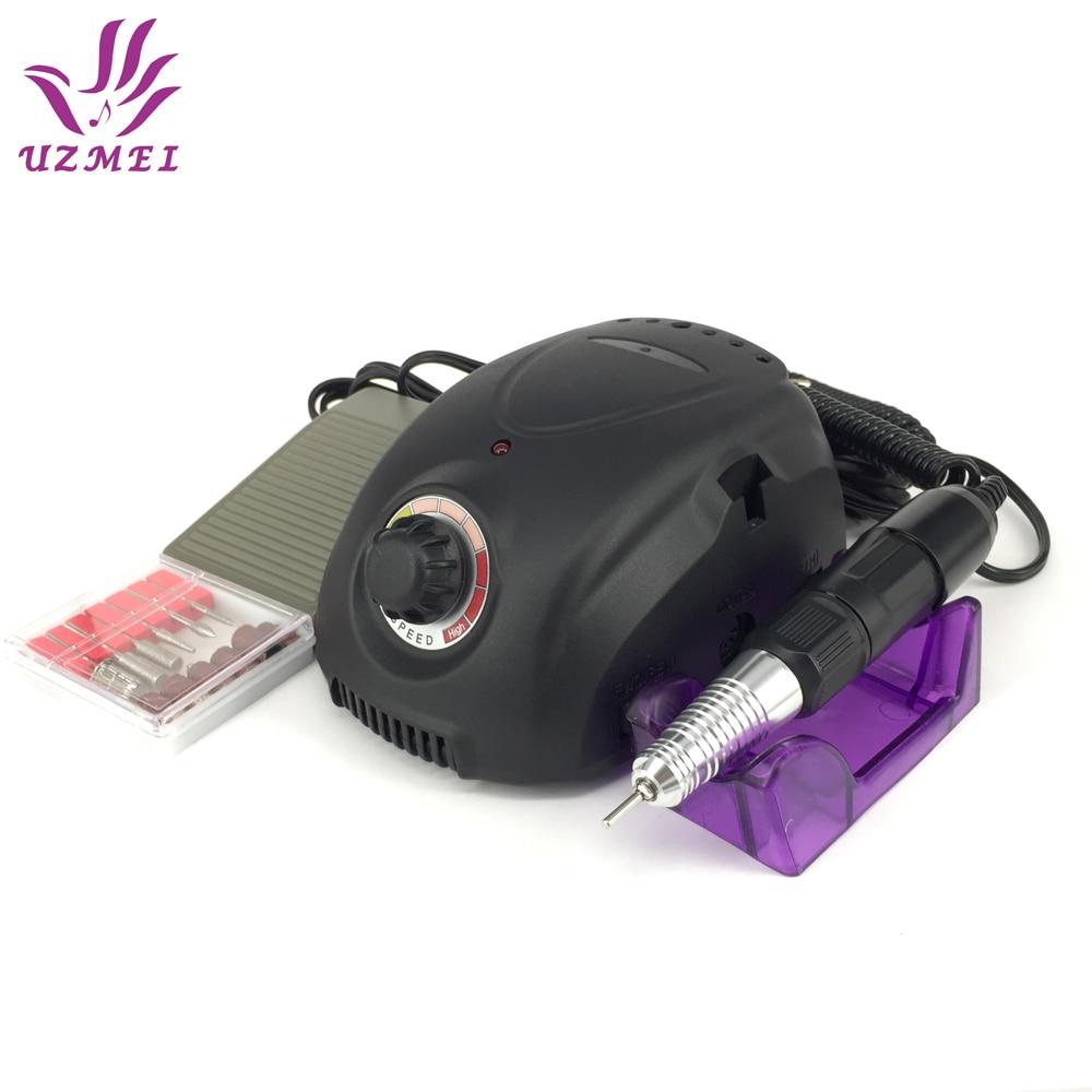 все цены на 35W Black Professional Electric Nail Art Drill Machine Nail Equipment Manicure Pedicure kit Files Electric Manicure Drill file онлайн