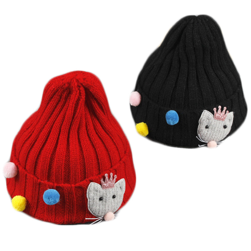 2017 New Knitting Cartoon Kitten Children's Wool Hat Baby Fashion Color Beans Cap Boys And Girls Autumn Winter Warm Beanie Hats gift children knitting wool hat cute keep warm rabbit beanie cap autumn and winter hat with earflaps whcn