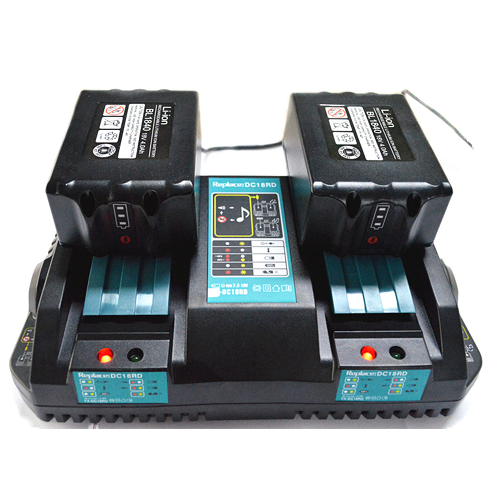 LED light 18V Dual Battery Charger for Makita BL1860 BL1815 BL1830 BL1835 LXT 400 DC18RD Makita 14.4V-18V with USB Port gtf 18v battery for makita 6 0ah bl1860 bl1840 bl1830 bl1815 lxt lithium ion