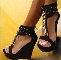 Encantador Corrente de Metal com Tira No Tornozelo Sandálias de Cunha plataformas rebites de salto alto sapatos de festa mulher