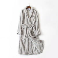 Men S Bathrobe Gray Pattern Simple Style Long Bath Robes For Men Comfortable Indoor Robe For
