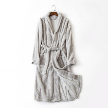Men's home bathrobe light gray pattern simple style long bath robes for men comfortable indoor robe for home wear terry bathrobe