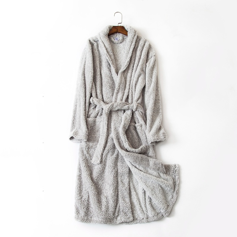 Men's home bathrobe light gray pattern simple style long bath robes for men comfortable indoor robe for home wear terry bathrobe