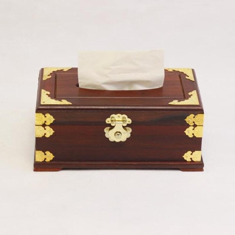 Boîte à mouchoirs en acajou de haute qualité boîte à serviettes en carton sculpté en bois de palissandre