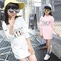 Характер детская одежда девушки 8 9 10 11 12 14 лет рукавом девушка футболки платья белый розовый коричневый футболки платье tes
