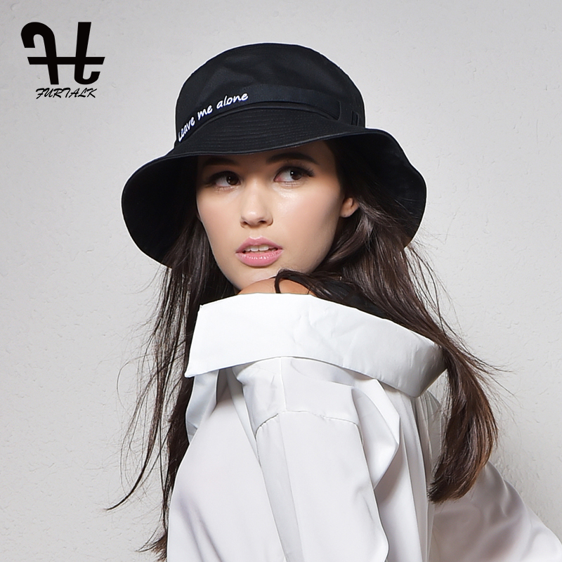 Furtalk Women's fashion Summer brand Sunhat Embroidery Cotton Bucket Hat for women with Big Fold-up Brim Packable Hats