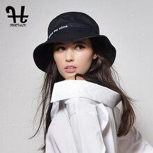 Furtalk женская мода Лето марка Sunhat Твердые Цветные Вышивка Хлопок Ведра с Большой Fold-up Брим Packable шляпы
