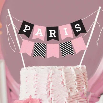hot bridal shower cake topper bunting paris cake decorations wedding party 2 layer cake bunting pink