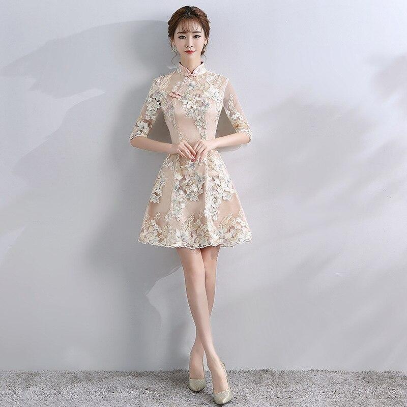 Современные китайское платье Qipao пикантные Cheongsam бежевые платья Повседневное для женщин кружево традиционный вечернее платье Vestido Oriental Сва...