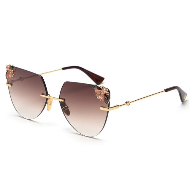 c9c5627977 mimiyou Cat Eye Rimless Sunglasses Women Bee Side Cut Sun Glasses Grace  Vintage Fashion Female Eyeglasses Lady Shades oculos