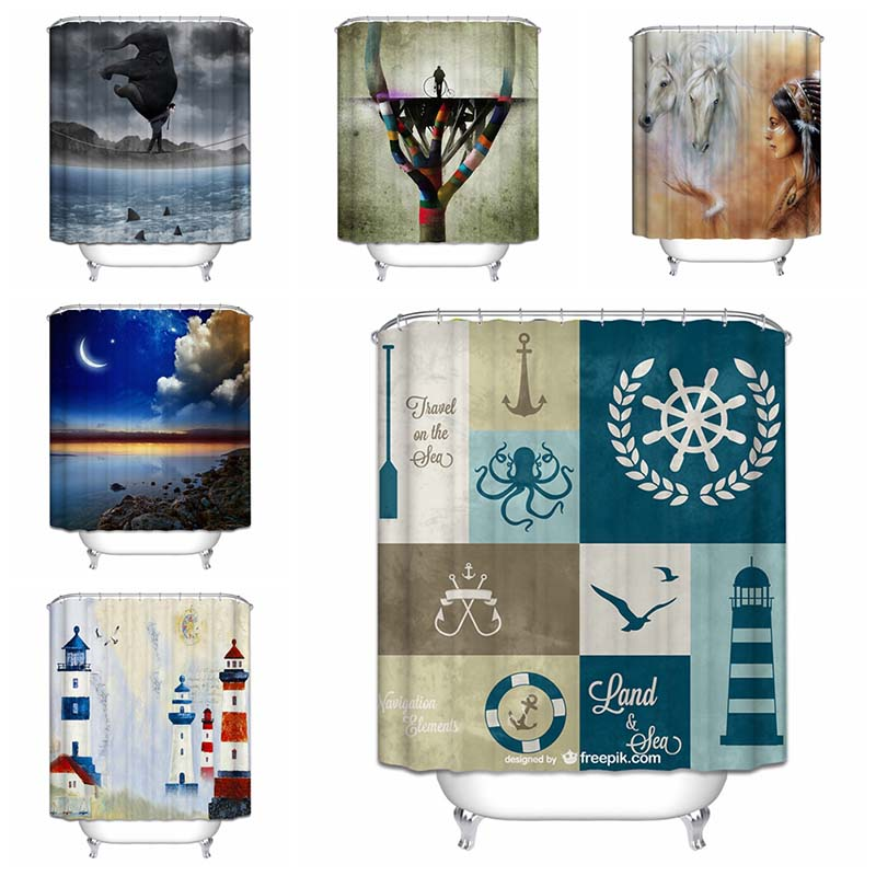 2017 New Arrive2017 Mermaid Shower Curtain Abstract Animal Scenery Sea  World Polyester Western Curtains 18 Options