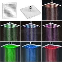 7 Color Changing Rainfall Shower Head 8 Square Temperature Sensor LED Light Water Saving Bath Shower