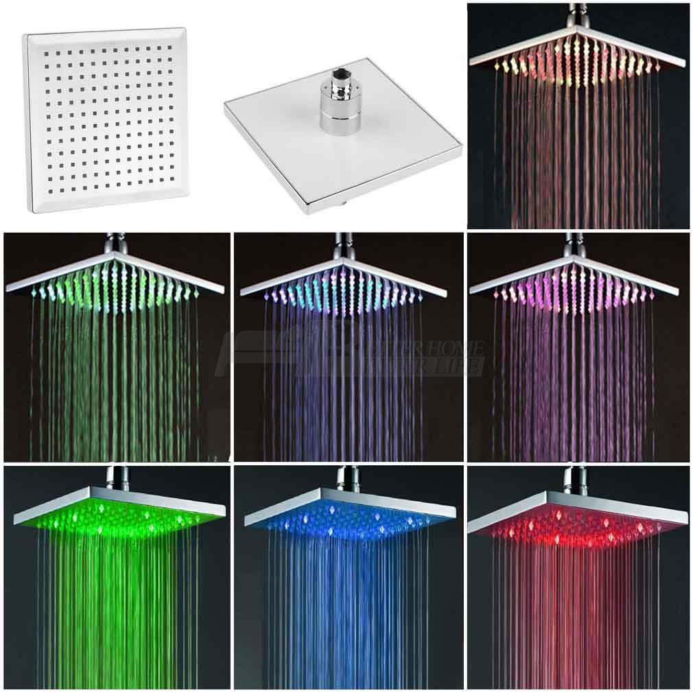 7 Color Changing Rainfall Shower Head 8Square Temperature Sensor LED Light Water Saving  ...
