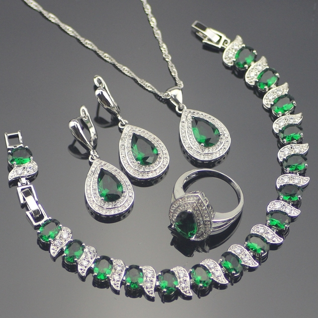 925 Sterling Silver Green Garnet White Created Topaz Jewelry Sets Bracelets/Earrings/Pendant/Necklace/Rings For Women Free Box