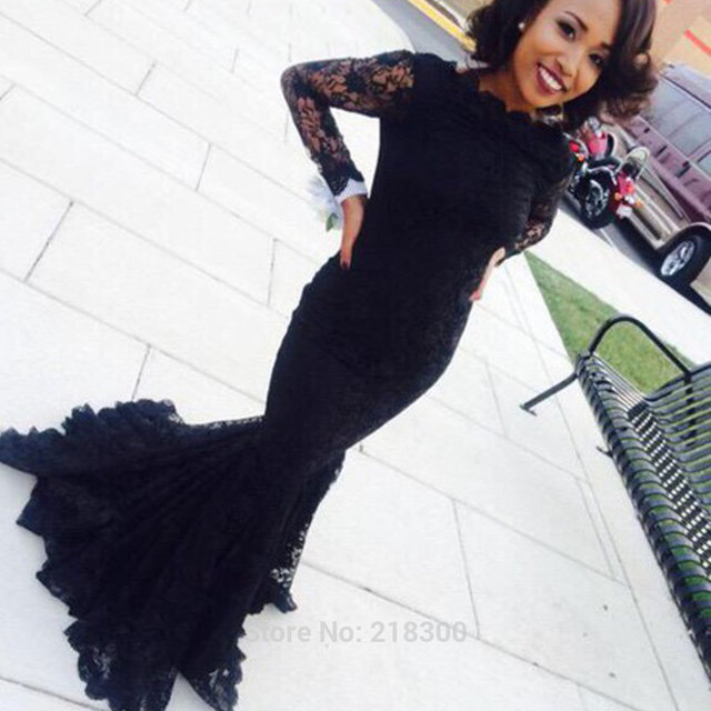 9244e24195c See Through Long Black Lace Mermaid Evening Dress For Graduation Sexy  African Long Sleeves Mermaid Prom Dresses