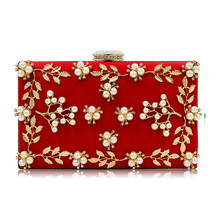 Flowers Beaded Royal Blue PU Women Totes Hand Bags Evening Party Clutches Female Elegant Crystal Clutch Purses