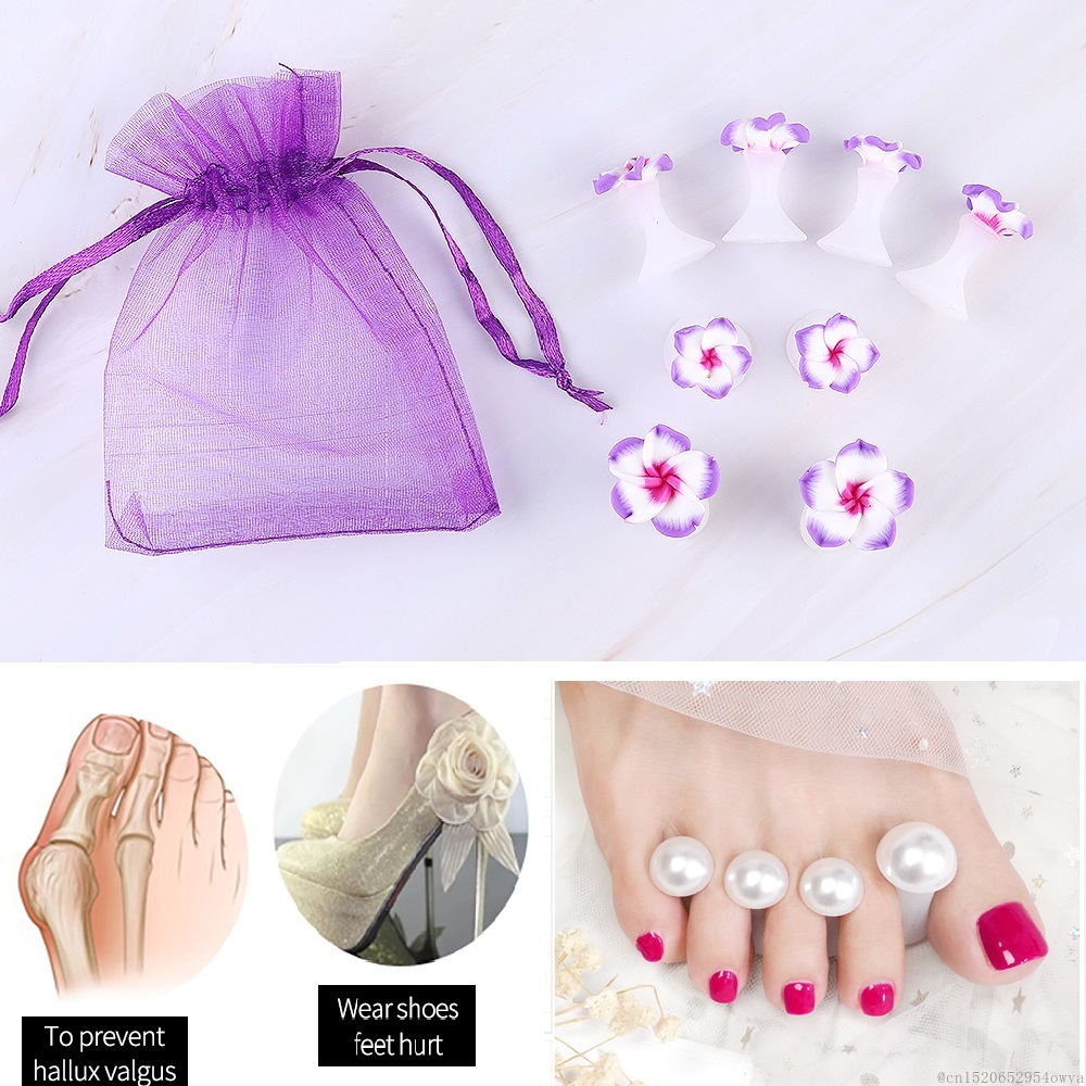 ELECOOL 8pcs Flower Pearl Heart Silicone Toe Separator Foot Finger Soft Toe Corrector Manicure Pedicure Nail Care Nail Art Tool