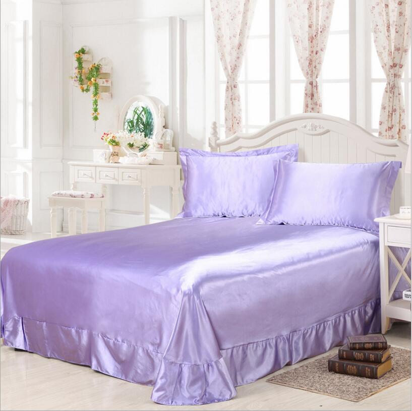 smooth satin flat bed sheets twin full queen size 1 3pcs. Black Bedroom Furniture Sets. Home Design Ideas