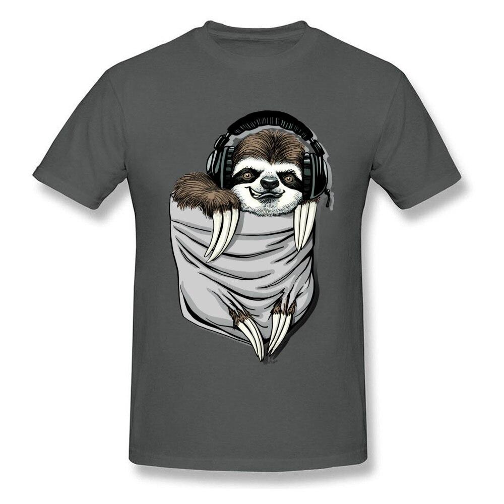 Прочный Шарм DJ Музыкальная гарнитура Ленивец Спортивная футболка мужская Спортивная Футболка серая футболка Kawaii дизайн карманный монстр одежда - Цвет: Dark Grey