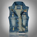 5XL Vintage Design Men's Denim Vest Male Slim Fit Sleeveless Jackets Men Hole Washed Jeans Waistcoat Jean Brand Clothing LA030