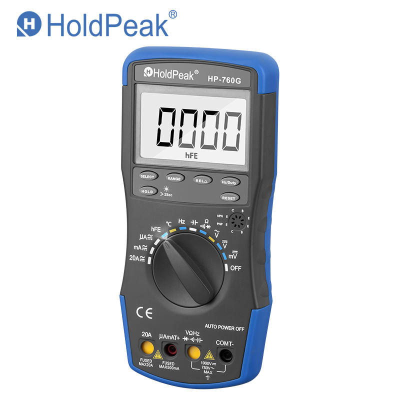 HoldPeak HP-760G 1000Volt & 20Ampere Auto Ranging Digital Multimeter Meter with Duty Cycle/Frequency/Capacitance and Carry Bag holdpeak hp 90epc multimetro digitais usb multimeter digital auto range multimeter capacitance meter data usb with carry bag