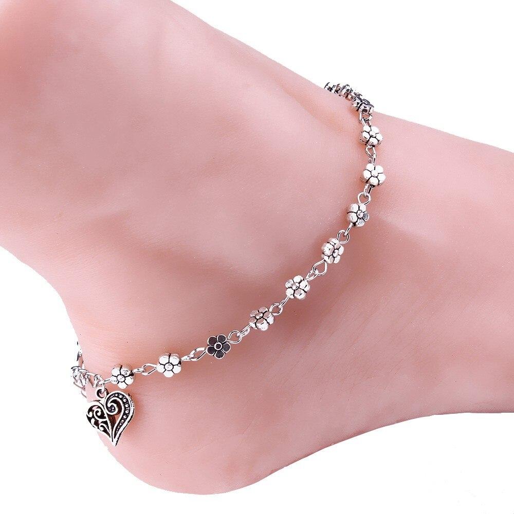 1 Pcs Einzigartige Perlen Nizza Silber Kette Fußkettchen Legierung Strass Souvenir Ankle Armband Fuß Schmuck Schnelle Las Piernas 4 H