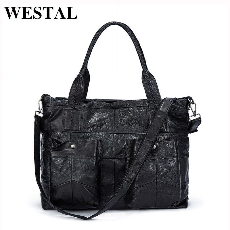 WESTAL Leather Handbag Totes  Genuine Leather Bag Women Bag Shoulder Crossbody Bags Travel Messenger Laptop Bag bolsa feminina ostin лёгкая куртка