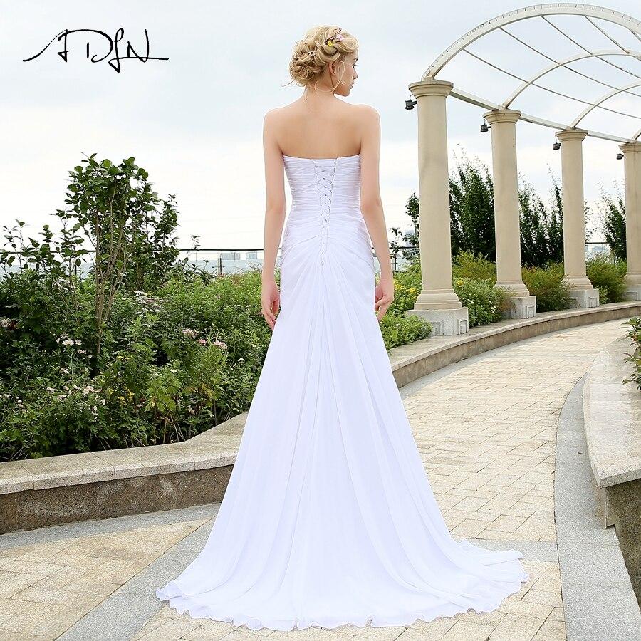 Image 2 - ADLN Real Model Beach Wedding Dress Sweetheart Pleats Crystal  Belt Chiffon Wedding Dresses Plus Size robe de mariee Lace up  BackWedding Dresses