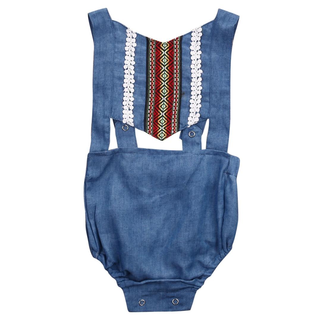 Nascido bonito Da Criança Infantil Do Bebê Menina Sem Mangas Denim Romper Macacão Sem Encosto Outfit Roupas Sunsuit