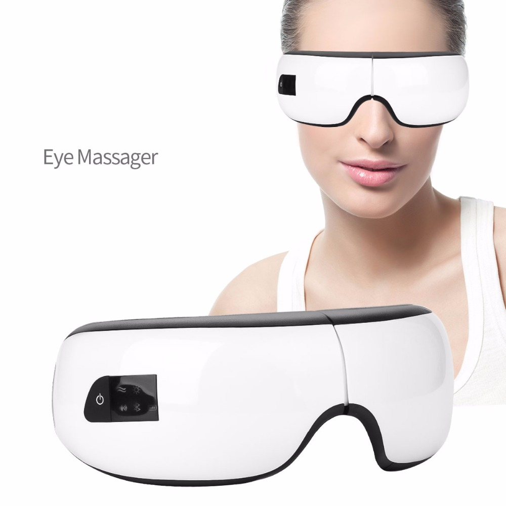 Foldable Rechargeable Eye Massager with Bluetooth Music Air Pressure Hot Compress Wireless Electric Massage Eyes Care Device