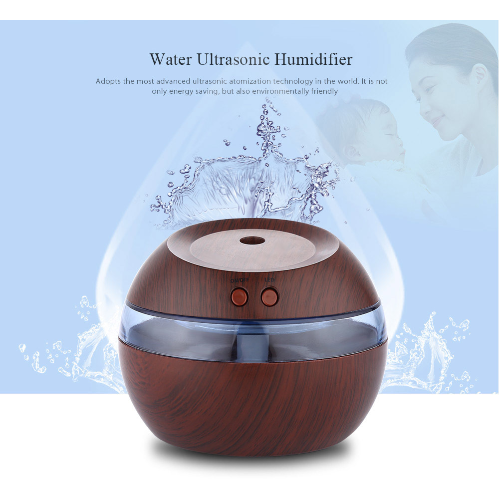 USB Ultrasonic Mini Air Humidifier 290ml Essential Oil Aromatherapy mist maker with Blue LED Light Dark wood Aroma Diffuser