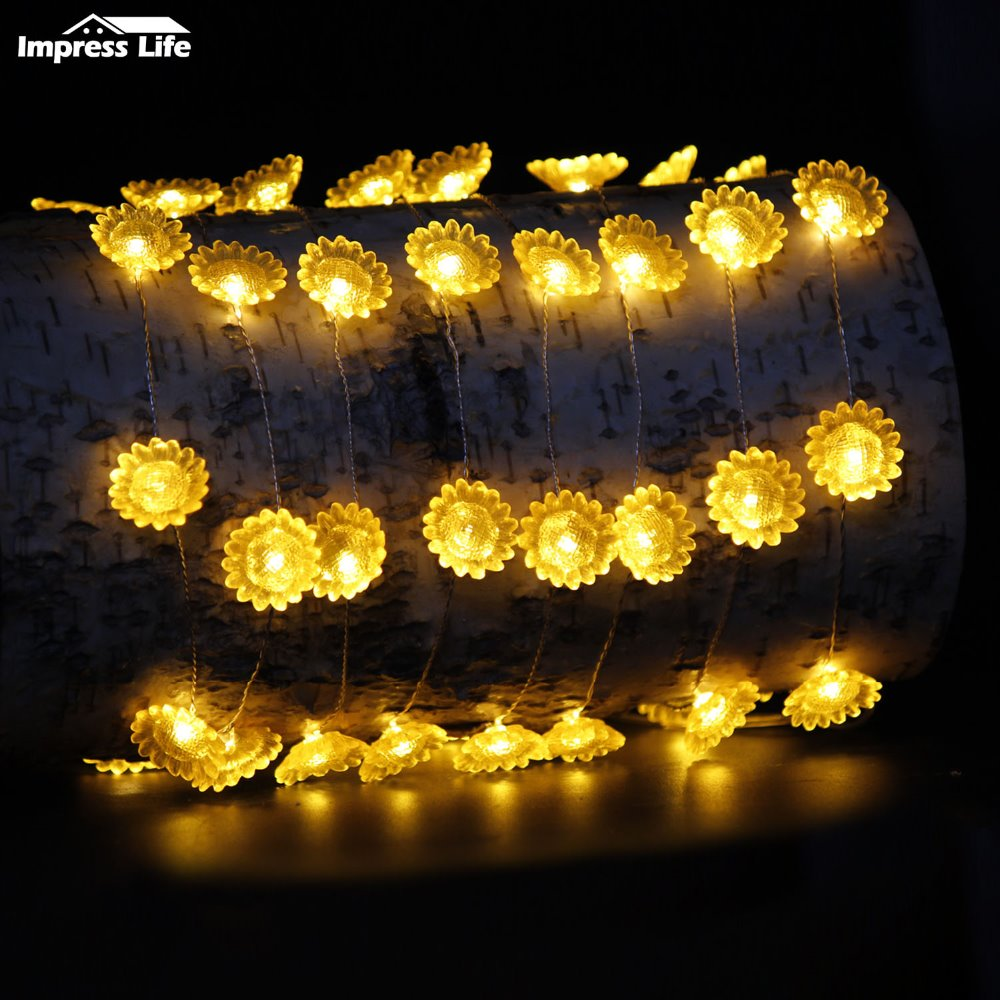 Battery Operated Sunflower Indoor Fairy String Lights with 10 Warm White LEDs