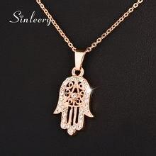 ec329467b71e SINLEERY clásico mano de Fatima Hamsa collar colgantes Rosa Cadena de Color  oro de declaración de la joyería para las mujeres XL.