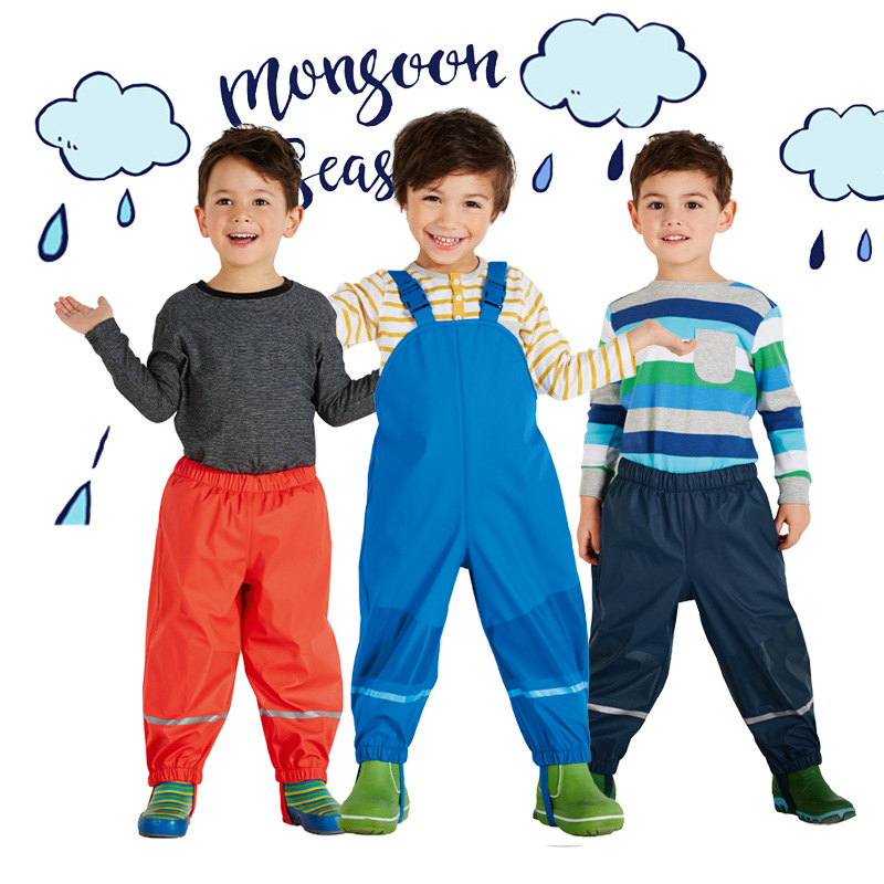 German Quality Spring Autumn Waterproof Children Overalls Child Bib Pants Boys Fleece Rain Pants Girls Beach Pants Windproof