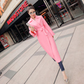 2017 New Spring Coat Pink Female In The And Autumn Long Slim Korean Sleeved England Women Trench 2016 Womens Velvet