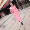 2017 Nova Primavera Casaco Feminino Rosa No E Outono Longo Fino Coreano de Mangas Compridas Inglaterra Mulheres Trench 2016 Das Mulheres De Veludo